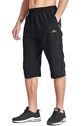 MAGCOMSEN Pantacourt de sport pour homme en polyester respirant avec fermeture éclair Noir
