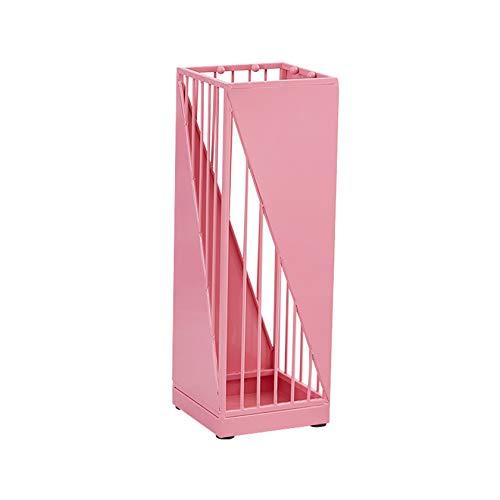 XIAZI Estante del Soporte del Paraguas, Estante Independiente Cuadrado del Tenedor del Paraguas del Metal para La Oficina En Casa De La Entrada,Pink