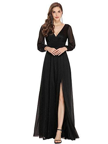 abito donna nero lungo Ever-Pretty Vestiti da Cerimonia Donna Elegante Manica Lunga Scollo a V Abiti da Damigella Stile Impero Brillantini Nero 44
