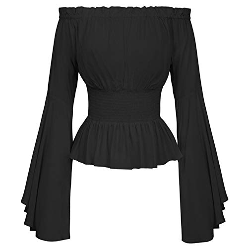 Dasongff Gothic Bluse Damen Mittelalter Bluse Lange Ärmel Tops Carmenbluse Schulterfrei Vintage Trompetenärmel mit Spitze Rüschen Smocked Taille Boho Tunika Tops Shirts Hemd
