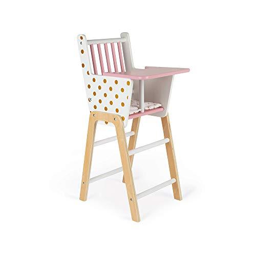 Janod - Chaise Haute Candy Chic - Chaise Haute pour Poupon en Bois Avec Coussin et Plateau Repas - Jouet d'Imitation - Accessoires pour Poupons - dès 3 Ans, J05888