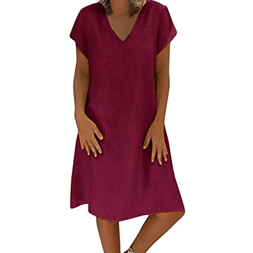 Kanpola Damen Kleider Leinenkleid Sommerkleid V-Ausschnitt Kurzarm Blusenkleid Strandkleider 2021 Sommer Knielang Kleid Leinen Tunikakleider Freizeitkleid Dress