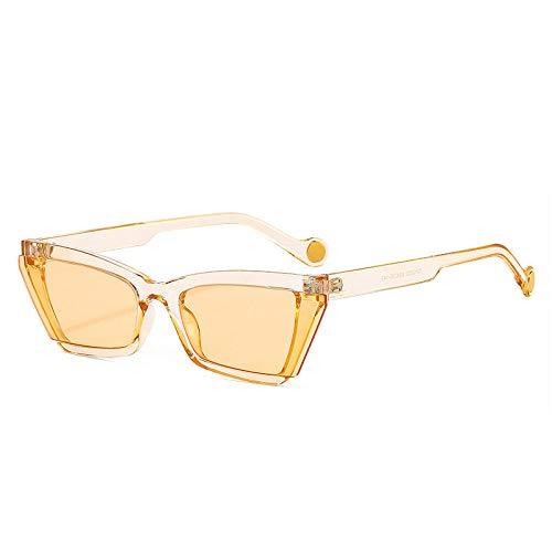 DLSM Popular Moda Gato Ojo Mujeres Gafas de Sol Retro Semi-Rimless Lente Gafas Hombres Tonos UV400 Gafas de Sol Apto para Senderismo y Pesca-champán