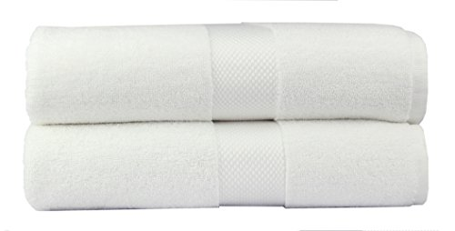 COTTON CRAFT Hotel Luxury Spa Set of 2 Bath Sheets, Oversized Ringspun Cotton 700GSM, 40 inch x 80 inch, White