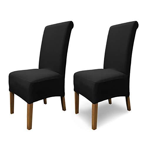 SCHEFFLER-Home 2X Stuhlhussen Stretch Emma / elastische Stuhlhussen Schwarz 2er Set / Stuhlhussen Baumwolle als Stuhlabdeckung / Stuhlhussen Schwingstühle / Stuhl Hussen Stretch als Stuhlüberzug