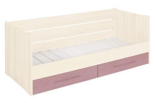 BioKinder functionele bedbank stapelbed met lattenbodem en 2 bedladen Lina van massief hout grenen 90 x 200 cm, bedladen lila beglazing