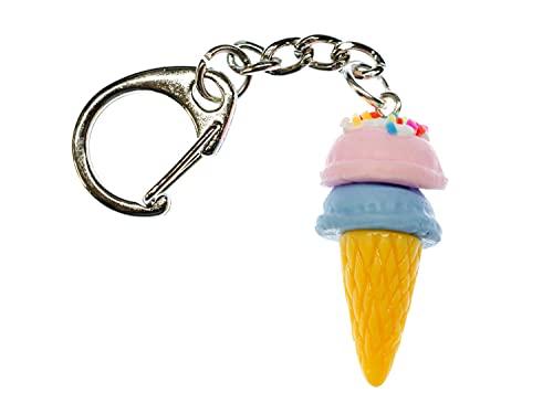 Miniblings EIS Waffel Schlüsselanhänger Eiscreme Streusel Kugeleis Süß 2 Kugeln - Handmade Modeschmuck I I Anhänger Schlüsselring Schlüsselband Keyring