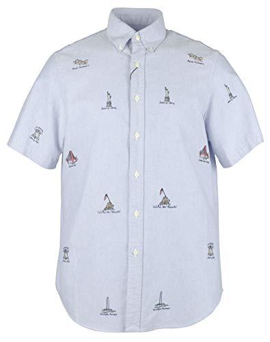 Ralph Lauren Mens Americana Short Sleeve Button Down Casual Shirt Blue L
