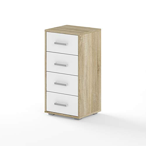 BIM Furniture Dynamic24 Aurora III - Cómoda (40 x 35 x 80 cm, roble Sonoma), color blanco