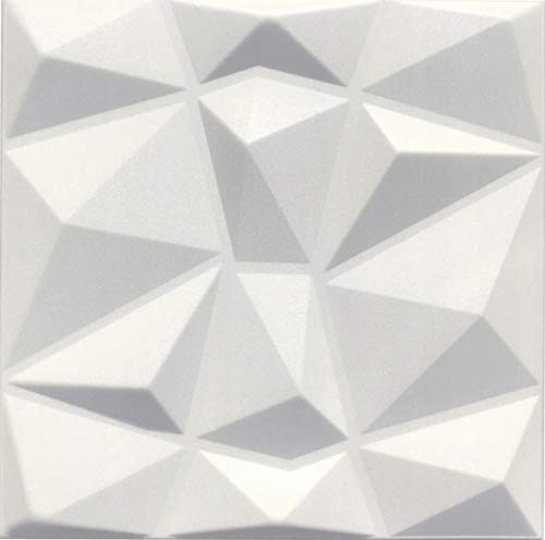Paneles Decorativos De Pared 3D - Tableros de Pared 3D - Revestimiento de Pared 3D - Cube - Blanco - Paquete 40 piezas / 10 m2