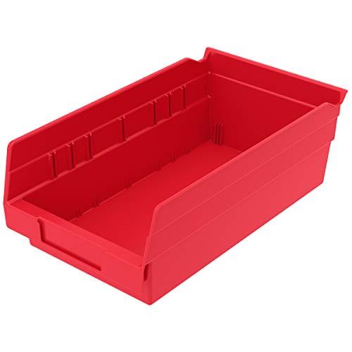 Akro-Mils 30130 Plastic Nesting Shelf Bin Box, (12-Inch x 6-1/2-Inch x 4-Inch), Red, (12-Pack)