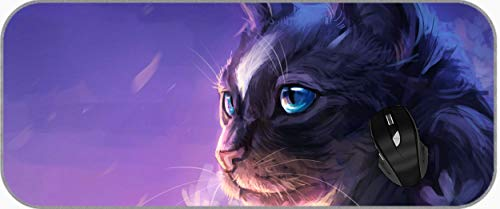 XXL Gaming Large Mouse Pad Blue Eyes Cat Purple Flower Long Extended Mousepad Desk Pad