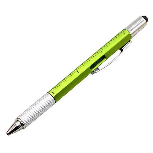 1 penna a sfera multifunzione, 6 in 1, con livella a bolla e cacciavite. 15 * 1 cm green