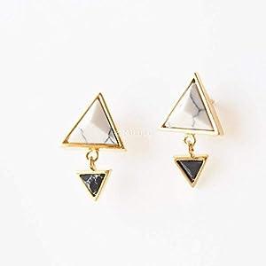 White and Black Howlite Double Triangle Minimalist Dangle Stud Earrings