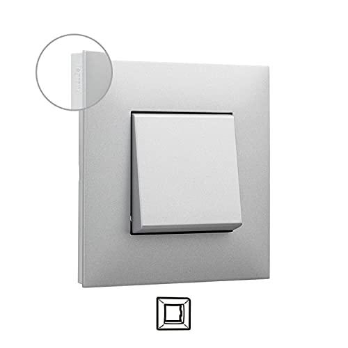 Placa embellecedora de 1 elemento, modelo Valena Next, color aluminio y cromo, 5 x 9 x 9 centímetros (referencia: Legrand 741041)