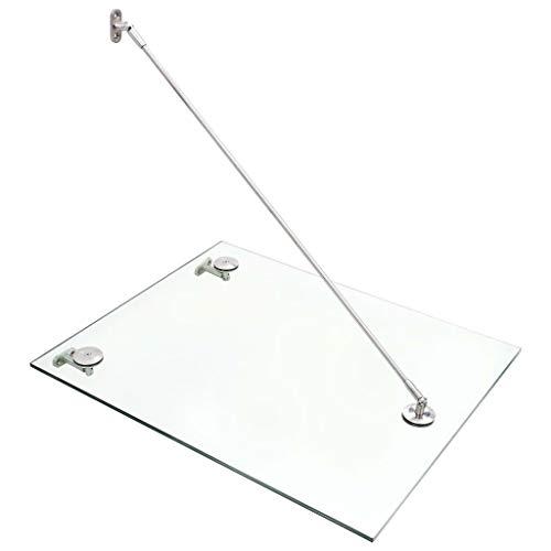 vidaXL VSG Glasvordach Wandhalter Wandhalterung Vordach Türvordach Überdachung Haustür Haustürvordach 90x60cm Edelstahl Glas Klarglas