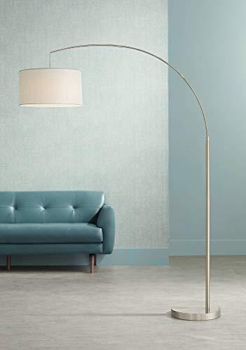 Cora Modern Arc Floor Lamp Brushed Steel Off White Linen Drum Shade for Living Room Reading Bedroom Office - 360 Lighting