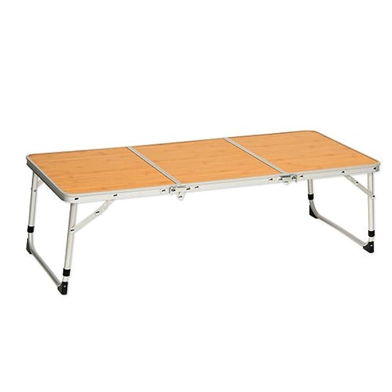 粘り強いアクション中間折りたたみ アルミ 3つ折り ミニテーブル 90×40cm ピクニックテーブル レジャー テーブル QC-3FT90