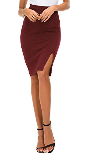EXCHIC Donna Vita Alta Gonna Elastico Bodycon Midi Gonna (M, Vino Rosso)