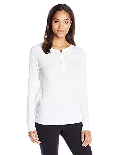 Hanes Plus Size Women's Ultimate Thermal Henley, White, Medium