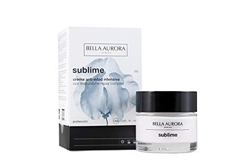 Bella Aurora Crema Facial de Día Hidratante Anti-Edad y Anti-Manchas 50+ Años SPF 20, 50 ml   Repara, Protege y Mantiene la Microbiota de la Piel   �cido Hialurónico   Sublime