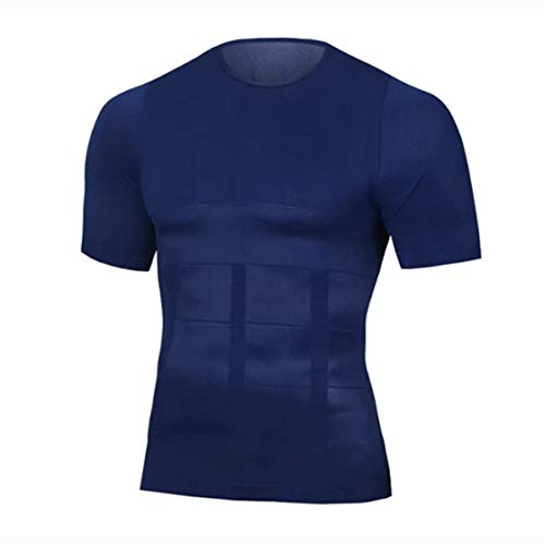 Camiseta de compresión para adelgazar Body Shaper para hombre, chaleco de adelgazamiento sin costuras con cuello redondo ligero de manga corta para bajar de peso (Blue,XXL)