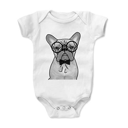 Bald Eagle Shirts French Bulldog Baby Clothes, Onesie, Creeper, Bodysuit - Nerdy Frenchie Dog (White, 3-6 Months)