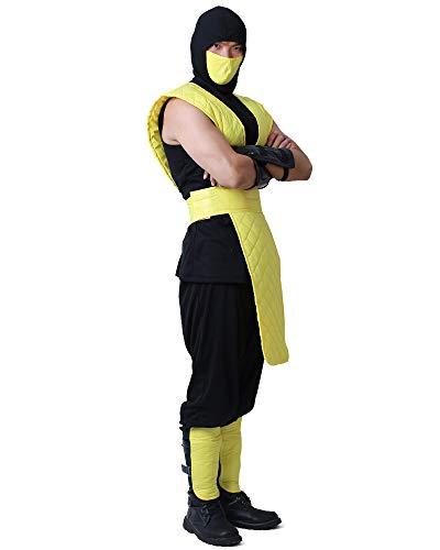 miccostumes Men's Shotokan Ninja Yellow Fighter Halloween Cosplay Costume (Men s)