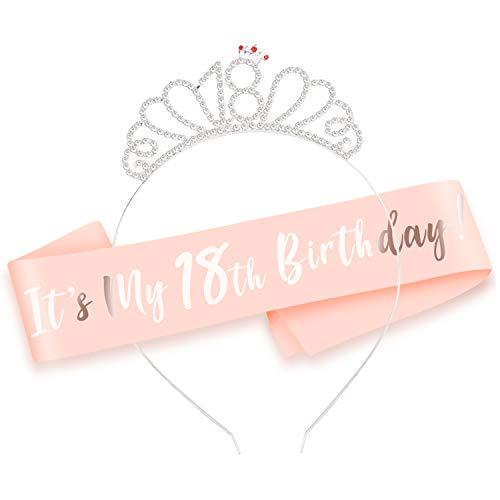 Howaf Rose Gold Happy 18 Birthday Geburtstag Schärpe + 18 Krone Haarreif Stirnband für 18. Geburtstag mädchen deko Accessoires Geschenk