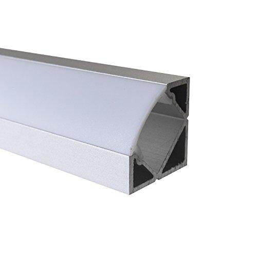 OPAL - 200 cm LED Aluminium Profil ECKE-45 + 200 cm weiß milchige Abdeckung für LED-Streifen Alu von Alumino®