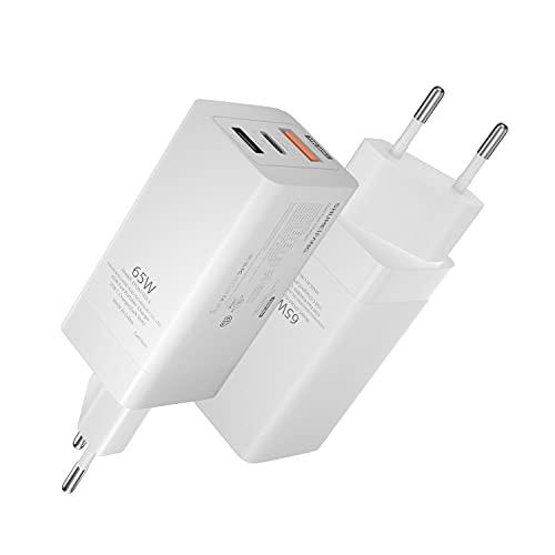 65W Cargador USB C, shumeifang Multiple Tipo C Adaptador de Carga Rápida para iPhone 12 Pro, MacBook, Xiaomi, Samsung y Macbook etc, Blanco