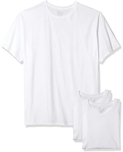 Fruit of the Loom Men's 3-Pack Tall Size Crew-Neck T-Shirt, White, XLT