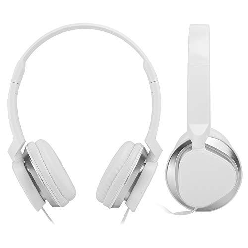 CHICIRIS Auriculares para Colocar sobre la Oreja Auriculares con micrófono Colorido Outlook Clear Sound Quality Smartphone Office para PC en casa(White)