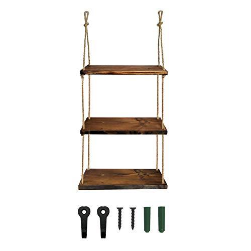 Hängeregale für Wandseil, Hängeregal aus rustikalem Holz, schwebendes Regal für Badezimmer, Schlafzimmer, Bauernhaus, Heimdekoration