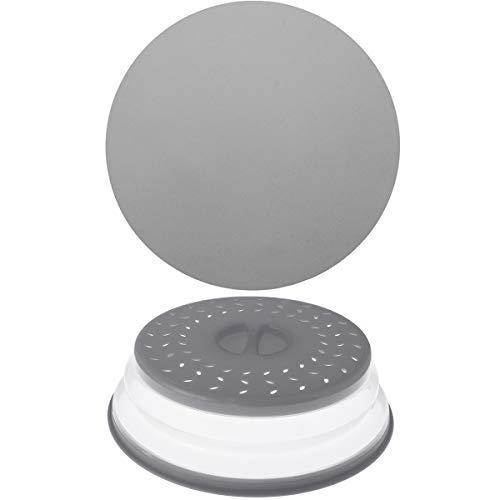 Thanksky - Cubierta plegable para microondas / alfombrilla giratoria antiadherente para cocina, a prueba de salpicaduras, cesta escurridor de platos de frutas y verduras, silicona sin BPA y plástico (1 alfombrilla + 1 cubierta, gris)