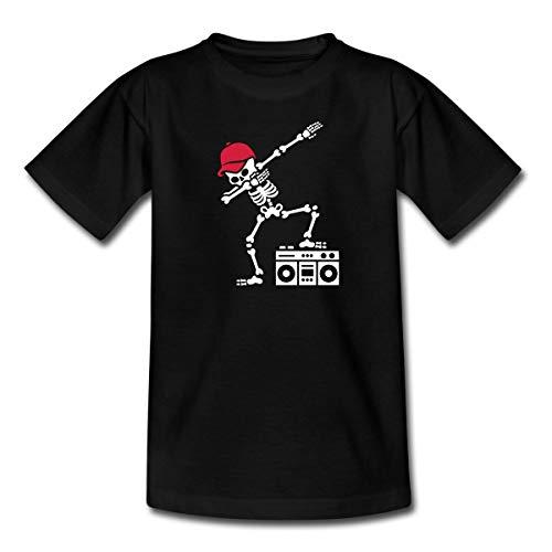 Dab Skelett Dabbing Gerippe Ghetto Blaster Halloween Breakdance Teenager T-Shirt, 134-146, Schwarz