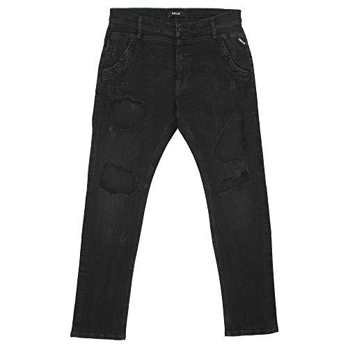 Replay, Denice, Damen 7/8 Damen Jeans Hose Stretchdenim Black Destroyed W 29 L 28 [21789]