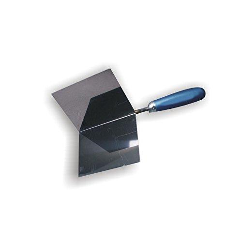 DEWEPRO® Außenecken-Kelle - Außeneckkelle - Eckkelle - Kantenkelle - 120x97x97mm - Eckenkelle mit Edelstahlblatt und Holzgriff/Holzheft