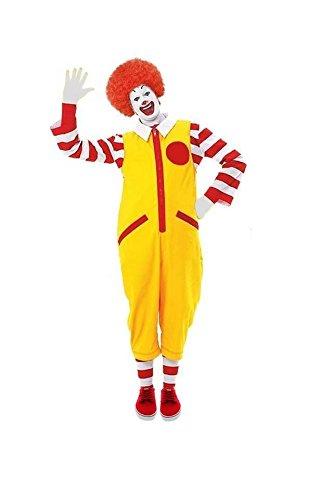 Disfraz de Ronald The Clown para hombre rojo y amarillo sin zapatos [S/M]
