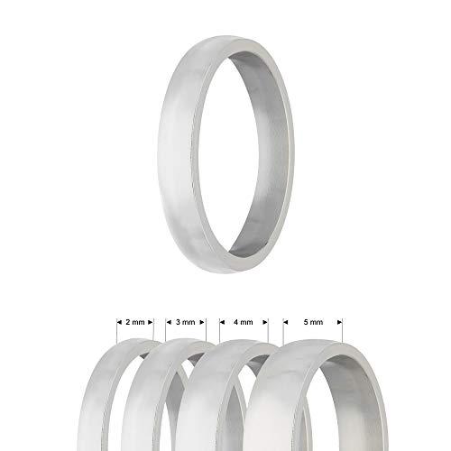 Treuheld® | Ring aus Edelstahl | Silber | Ringgröße 51 | Breite 4mm | Damen & Herren | Matt/Frosted | Freundschaftsring Verlobungsring Ehering