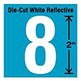 Stranco Inc Reflective Number Label, 8, Reflective White, 2' Character Height, 5 PK Vinyl DWR-2-8-5-1 Each