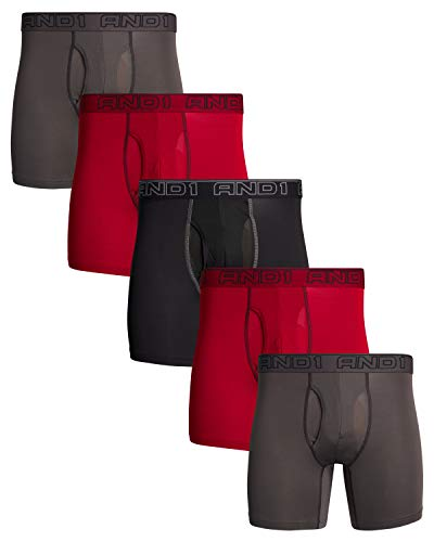 AND1 Mens Performance Compression Boxer Briefs (5 Pack), Black/Red/Charcoal, Size X-Large'