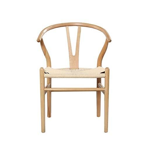 Silla Sencilla y cómoda Ocio Nordic Wishbone Chair Hans Cuerda Trenzada Y Silla Simple Red Haya Tea