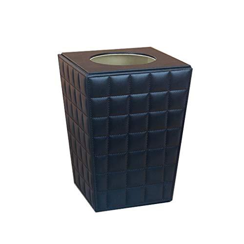SMEJS Trash Can Kreative Wasserdichtes Leder Wohnzimmer Mülleimer Schlafzimmer Abfallbehälter Reines Leder Mülltonne (Schwarz)
