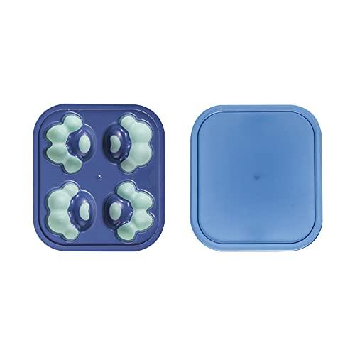 Chunjing Cubito de Hielo congelado Hecho en casa congelador rápido Molde de Helado Garra de Gato Linda Bandeja de Hielo con Tapa Caja de Hielo Comida suplementaria Silicona(Color:Azul Verde)