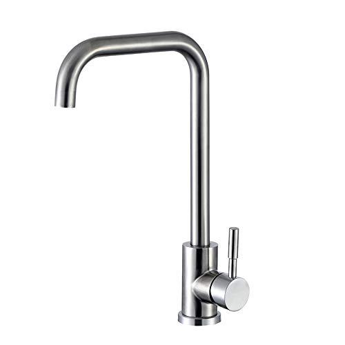 KINSE Niederdruck Küchenarmatur Edelstahl | 360° Schwenkbar Einhebel Spültischarmatur | Unterdruck Wasserhahn Küche | gebürstet matt