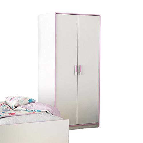 Kleiderschrank Kaya weiß/rosa 2 Türen B 88 cm H 186 cm Mädchen Kinder Jugendzimmer Drehtüren Wäscheschrank
