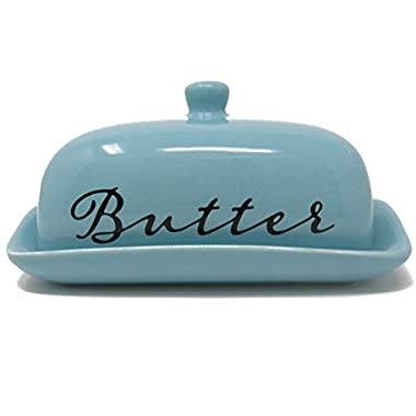 Porcelaine Butter Dish With Lid For East West Butter Great For Kitchen Storage & Decor or Gift Idea by Ashes To Beauty (Aqua)
