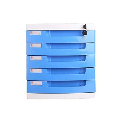 FACAIA Archivadores Escritorio Cajón de Varias Capas Caja de Almacenamiento Suministros de Oficina Datos con Cerradura Gran Espacio Riel Deslizante Librería de plástico (Color: B1)