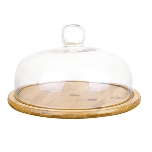 Cabilock 1 Set Kuchenständer Glasglocke Glas Käseglocke mit Bambus Teller Holz Tortenplatte Haube Glaskuppel Torten Glashaube Lebensmittel Abdeckung Deckel Kuchen Abdeckhaube für Essen Cover